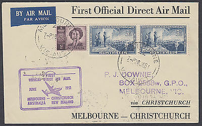 1951 Australia Melbourne Airmail  to Christchurch New Zealand FFC