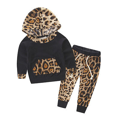 Baby Kids Leopard Print Pullover Hooded Coat Pants Set Casual Clothes Outfit