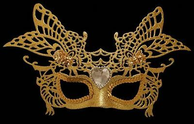 Masquerade Mask Gold Carnival Fancy Dress Party Ball Event Glitter Prom Venetian