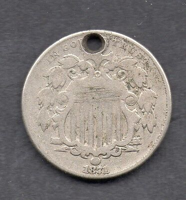 USA 5 Cent 1871 coin Key Date