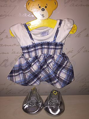 Build A Bear 3 Piece Outfit - Blue Check Dress And Silver Shoes