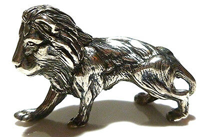 Kbn Kabana Heavy Sterling Silver Ornate Detailed Lion Cat Miniature Display