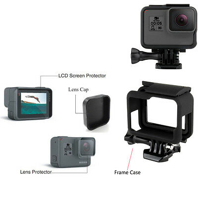 Lens Cap & Screen Protector Film & Frame Protective Case For GoPro Hero 5 Camera