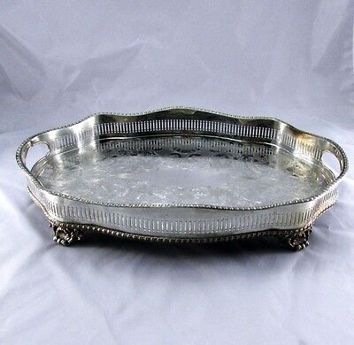 Vintage Sheffield England Silver Plate Footed Gallery Tray w Handles 16.5""