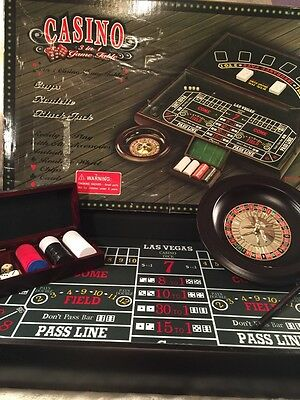 Casino 3-In-1 Game Table Blackjack Roulette Craps Wooden Case