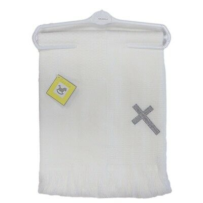 Beautiful Ava Luxury Christening Shawl Blanket Cross Design by Bee Bo 122 x 122