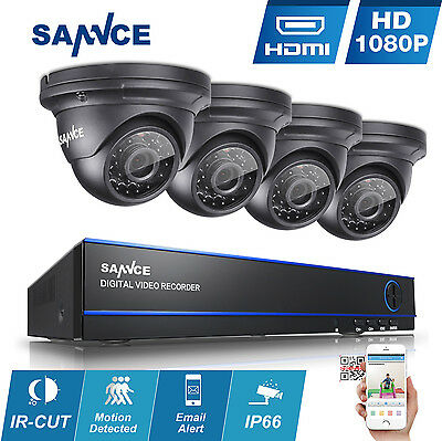 SANNCE 1080P 8CH AHD DVR Remote APP Home CCTV Security Camera System Outdoor P2P