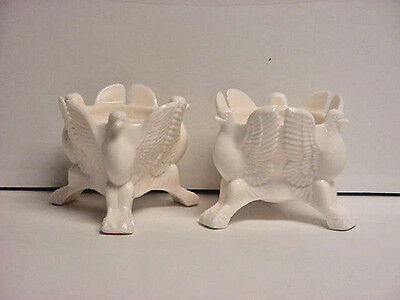Jeannette Shell Pink Milk Glass Eagle Bird Candle Holders Mid-Century