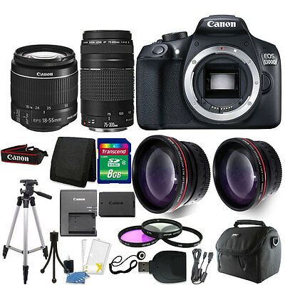 Canon EOS 1300D/T6 18MP DSLR Camera with 18-55mm + 75-300mm Lens & Accessory Kit