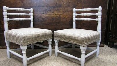 Antique Pair Turned Beech Children's Chairs