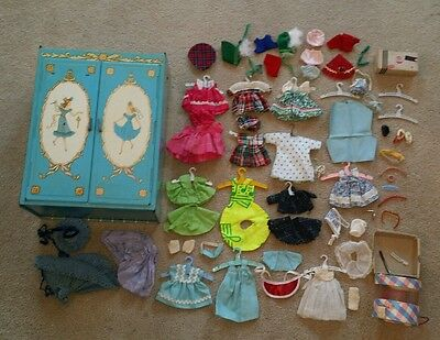 "1950's Vogue 8"" Ginny Doll Accessory Lot with Tin Litho Ideal Doll Case Cabinet"