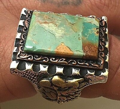 1930s 40s 50s 60s Native American Turquoise Indian Mexican Biker Ring Vintage