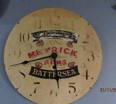 "Aged Metal Upcycled Shabby Chic Quartz Clock In Working Order 12"" x 12"""
