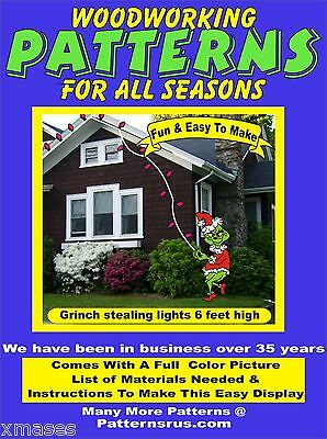 GRINCH #3 STEALING LIGHTS CHRISTMAS YARD ART PATTERN WOODWORKING patternsrus.com