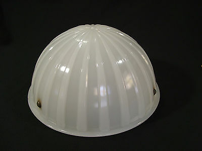 White 3 Chain Hanger Glass Shade Art Deco Hard Hat Industrial Look Brass Inserts
