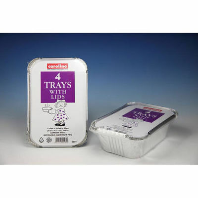 Caroline Foil Trays With Lids 4 Per Pack Baking Cooking 30oz 139 x 203 x 45mm