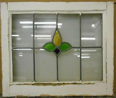 "OLD ENGLISH LEADED STAINED GLASS WINDOW Nice Floral Design 21.25"" x 17.75"""