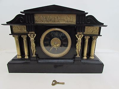 Stunning Large Victorian Slate Mantel Clock 8-Day Spring Driven J W Benson