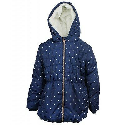 New Girls Ex Primark Navy Warm  Fleece Padded Winter School Coat Jacket 2-8 Yrs