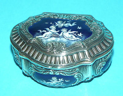Superb Antique French Solid Silver Hand Painted Enamel Cherubs Putti Snuff Box