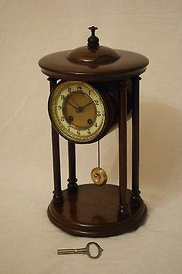 Beautiful Antique C.1900 Fms Mauthe Mahogany Striking Portico Mantel Clock