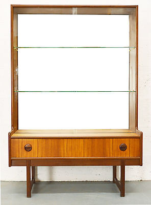 Retro Vintage Mid Century Glass and Teak Display Cabinet/Bookcase by Turnidge