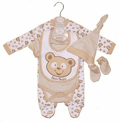 5 Piece Baby Neutral Teddy Bear layette Clothing Gift Set Outfit by Aardvark
