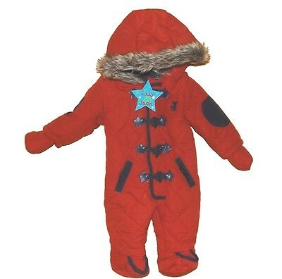 Baby Red Microfibre Quilted Pramsuit  Snowsuit Parka Style by Lily & Jack