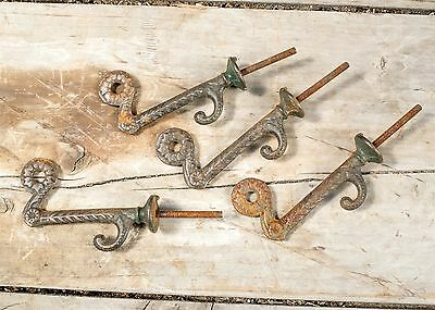 Set of 4 Vintage Cast Iron Flower and Vine Screw-In Double Wall Hooks