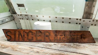 "Antique/Vintage 45"" Singer Sewing Machine Brand Wooden Sign"