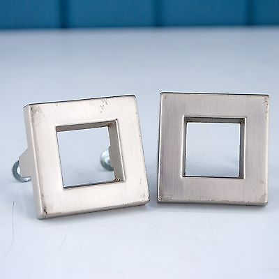 Vintage Square Retro Modern Style Silver Colored Metal Drawer Pull Handles
