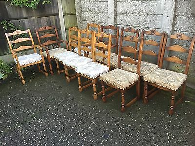 11 Matching Oak Dining Chairs Suitable For Restaurants, Cafes Etc