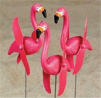 3 Spinning / Twirling Flamingo Yard Ornaments With Stakes! New!