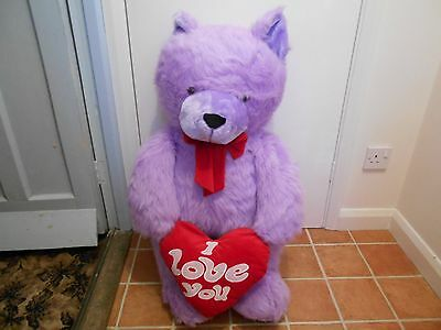 Giant Purple Bear Cuddly Toy with heart