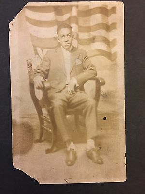 Antique African American Young Man Photo Vintage RPPC Postcard Black Americana