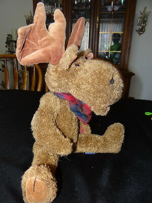"""Boyds Bears Collection Moose Jointed w/ Beanie Body 16"""" J.B. Bean  EUC"""