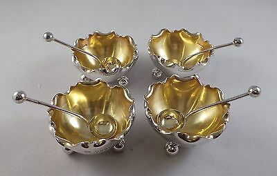 Nice Set Of 4 Antique Sterling Silver Salts + Spoons London 1885 Hukin & Heath