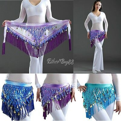 Belly Dance Metal Coin Belt Hip Scarf Skirt Wrap Waist Belt Dancing Costume New