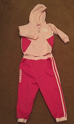 Lonsdale Girls Pink Tracksuit Age 3-4 Winter Wear New