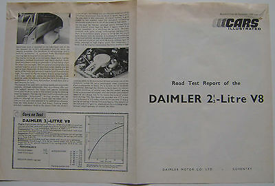 Daimler V8 Original period Road Test reprinted from Cars Illustrated 1964