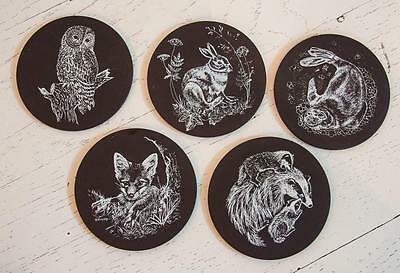 Vintage Set/5 Bar/Drink Animals Coasters Polished Welsh Slate Bacchante Crafts