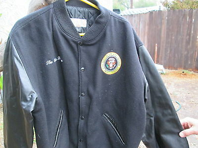 THE WHITE HOUSE  Presidential Seal Embroidery Leather & Wool Crew Jacket
