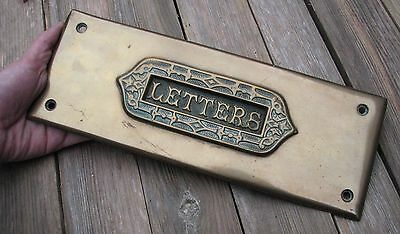 Antique Brass Letter Box Plate / Door Mail Slot with Surround