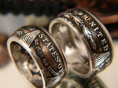 New Smaller Sizes 7-16 Coin Rings Made From Silver Morgan Dollars