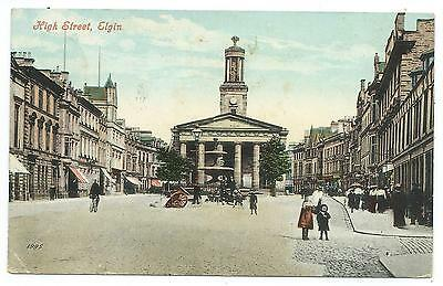 SCOTLAND - MORAY, HIGH STREET 1908 Postcard