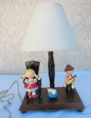 Vintage Irmi Wooden Musical Animated Nursery Child's Room Lamp - l