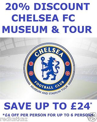 Chelsea Stadium Tour & Museum 20% Discount Voucher Up To 6 Persons Save Over £24