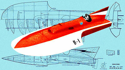 """Build a 44"""" Radio Control 1/8 Scale hydroplane Full Size Printed plan & article"""