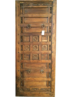 Antique Spanish Main Entrance Doors Floral Carved Wood Door Panel