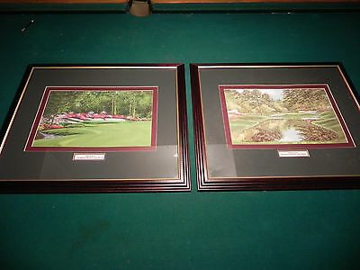 A pair of Nancy Raborn, Augusta National Lithographs, Holes 13 & 16, Framed
